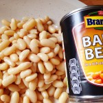 tin of baked beans and plain haricot beans