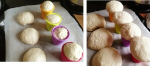 bread dough before and after second prove