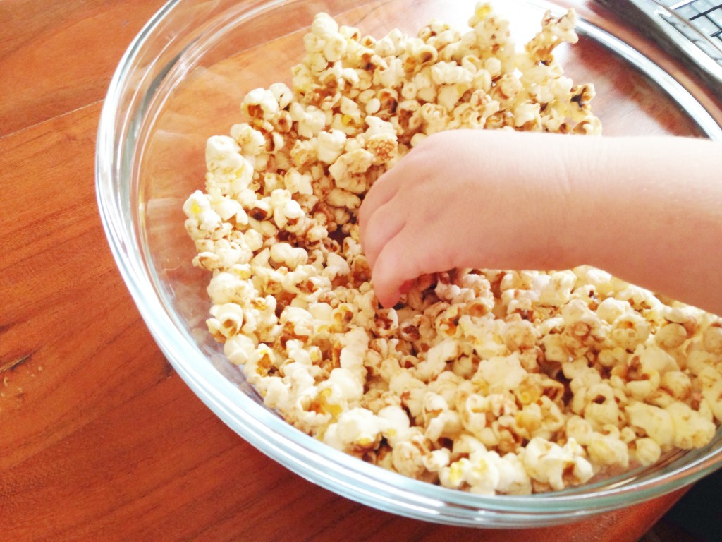 bowl of homemade popcorn