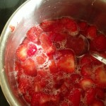 strawberry compote in a pan