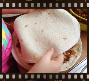sandwiching a quesadilla