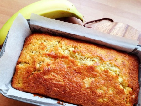 Yellow and golden easy-to-make banana bread
