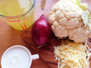 Ingredients for cauliflower soup